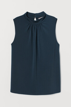 H&M Stand-up Collar Jersey Top - Turquoise