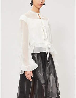 RENLI SU Ruffled-collar flared silk-blend top