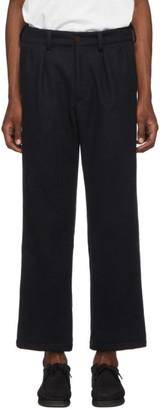 paa Navy Heavy Melton Wool Double Pleat Trousers