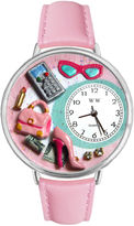 Whimsical Watches Personalized Shopper Mom Womens Silver-Tone Bezel Pink Leather Strap Watch