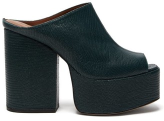 Osman Brigitte Lizard-effect Leather Platform Mules - Dark Green