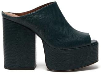 Osman Brigitte Lizard-effect Leather Platform Mules - Womens - Dark Green