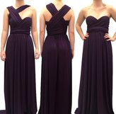4Now Fashions Long Dark Purple Infinity, Convertible or Multiway Dress that can be worn in 100 Ways