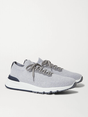 Brunello Cucinelli Leather-Trimmed Stretch-Knit Sneakers