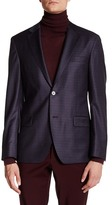 Ike Behar Charcoal Plaid Double Button Notched Lapel Wool Jacket