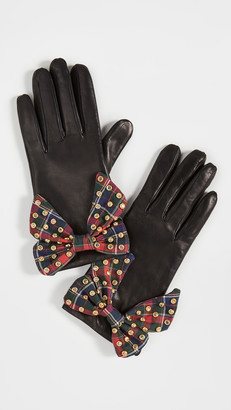 Lele Sadoughi Button Hole Gloves with Bow