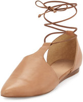 Vince Noella Leather Lace-Up Flat, Sand