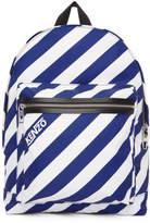 Kenzo Blue and White Striped Logo Rucksack