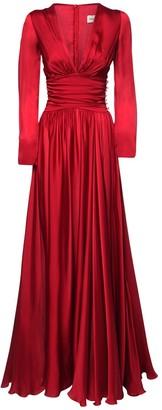 Alexandre Vauthier Silk Satin Flared Long Dress