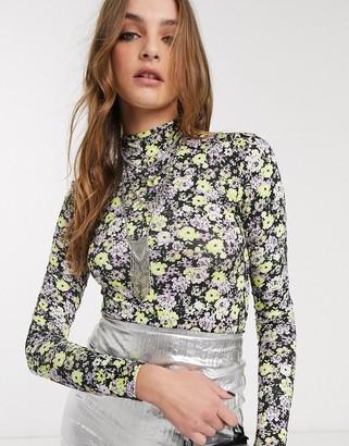 Bershka high neck bodysuit in floral