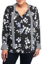 NYDJ Plus Plus Floral-Print Tie Neck Blouse