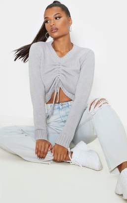 PrettyLittleThing Grey Ruched Crop Knitted Jumper