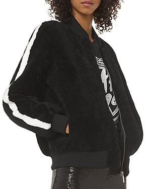 MICHAEL Michael Kors Real Lamb Shearling Striped-Sleeve Bomber Jacket