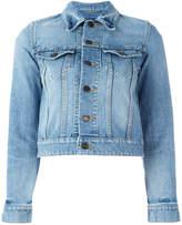 Saint Laurent Love patch cropped denim jacket