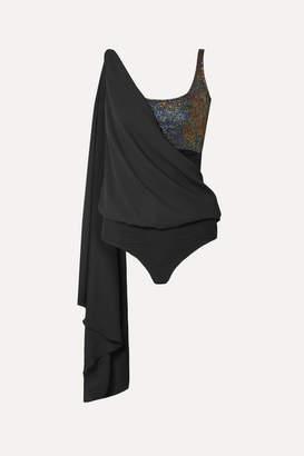 Marika Vera Cameron Draped Glittered Chiffon Thong Bodysuit - Black