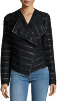 Bagatelle Faux-Leather and Faux-Suede Jacket, Black