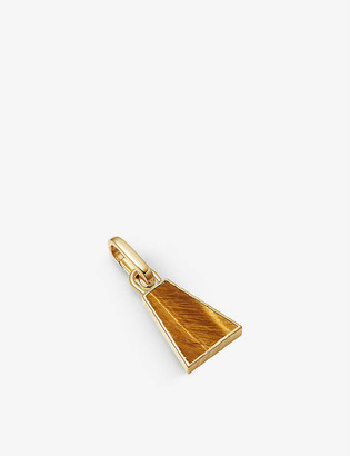 Missoma Triangle 18ct yellow gold-plated vermeil and tigers eye clip-on pendant
