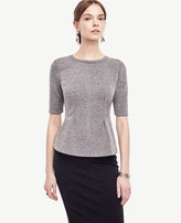 Ann Taylor Petite Tweed Structured Peplum Top