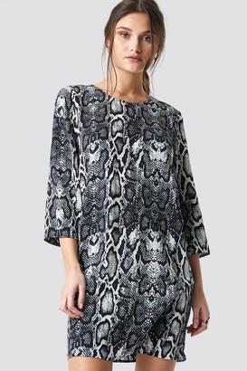NA-KD Snake Print Drop Waist Mini Dress