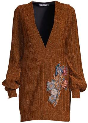 PatBO Plunging V-Neck Embroidered Lurex Tunic
