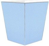 The Well Appointed House Blue Gingham Decoupage Wastebasket and Optional Tissue Box