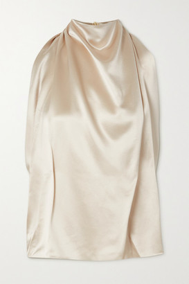 16Arlington Tana Draped Satin Halterneck Top - Beige