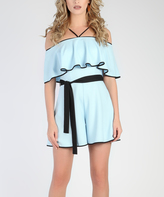 Grazia Light Blue Ruffle Tie-Waist Off-Shoulder Romper