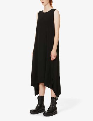 Y's Sleeveless asymmetric crepe midi dress
