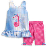 Nannette Girls 2-6x Girls Seahorse Dress and Polka Dot Shorts Set