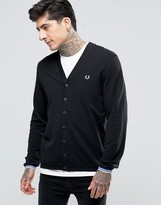 Fred Perry Cardigan In Pique In Black