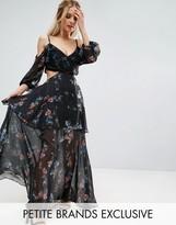 White Cove Petite Premium Cold Shoulder Maxi Dress In All Over Dark Floral Print