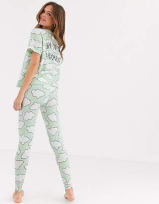 Asos Design DESIGN cloud tee & legging pyjama set-Green
