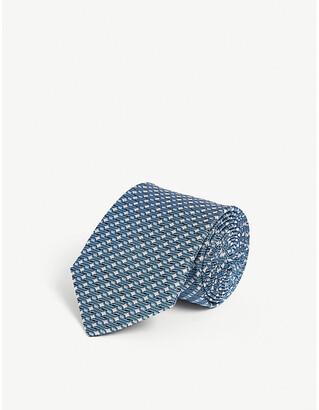 Lanvin Mini geometric square-pattern silk tie