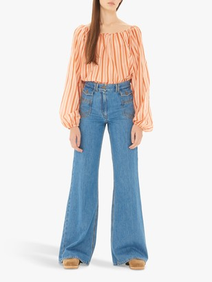 Gerard Darel Wide Leg Jeans, Blue