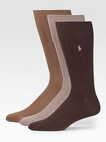 Polo Ralph Lauren men's socks Dress Combed Cotton tobacco/olive/brown 3pairs