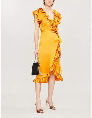 De La Vali Cadaques Ruffled Silk-Satin Wrap Dress