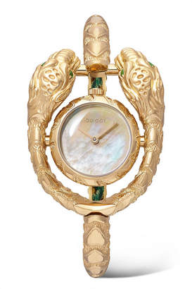 Gucci Dionysus 23mm 18-karat Gold, Tsavorite And Mother-of-pearl Watch - one size