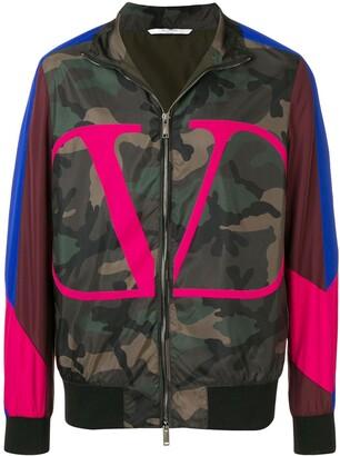 Valentino VLOGO camouflage bomber jacket