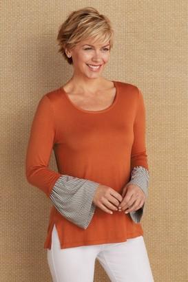 Soft Surroundings Petites Chantal Bell Sleeve Blouse