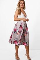 boohoo Plus Eva Floral Print Scuba Midi Skirt