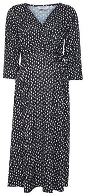 Dorothy Perkins Womens Dp Maternity Black Printed Wrap Dress, Black