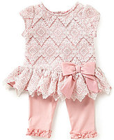 Rare Editions Baby Girls 3-24 Months Diamond-Patterned Lace Dress & Leggings Set