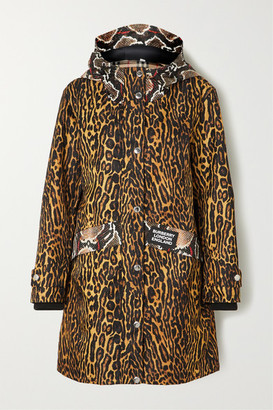 Burberry Hooded Animal-print Shell Coat - Beige