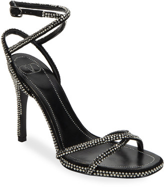 Valentino Rockstud 105mm Ankle-Wrap Sandals