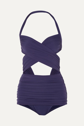 Norma Kamali Xo Bill Mio Cutout Ruched Halterneck Swimsuit - Midnight blue