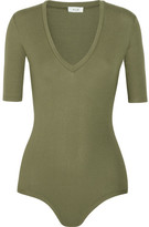 Alix - Bedford Ribbed Stretch-jersey Bodysuit - Army green