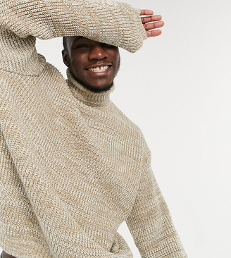 ASOS DESIGN Tall knitted oversized rib roll neck sweater in oatmeal twist