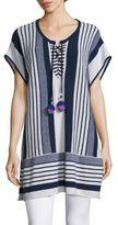 Calypso St. Barth Saerani Striped Cashmere Tunic Sweater