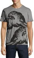 Valentino Panther-Print Crewneck T-Shirt, Gray