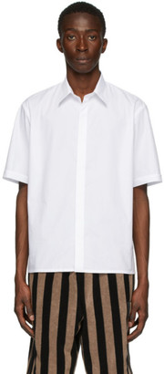 Fendi White Cotton Poplin Short Sleeve Shirt